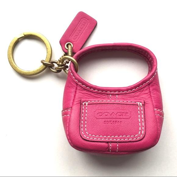 Coach Legacy Fuchsia Leather Ergo Handbag Keyfob